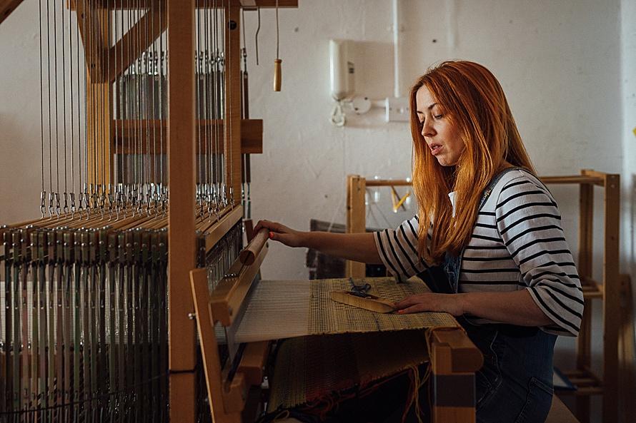 Weaving her magic | Whelans Weaving | London commercial photographer