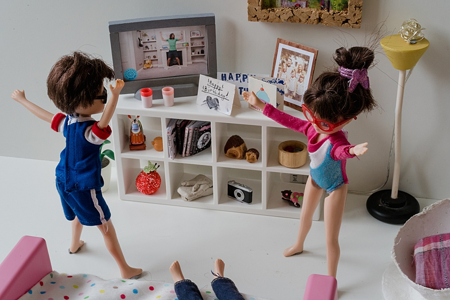Two dolls doing PE with Joe Wicks for Emma Collins Lottie Doll project