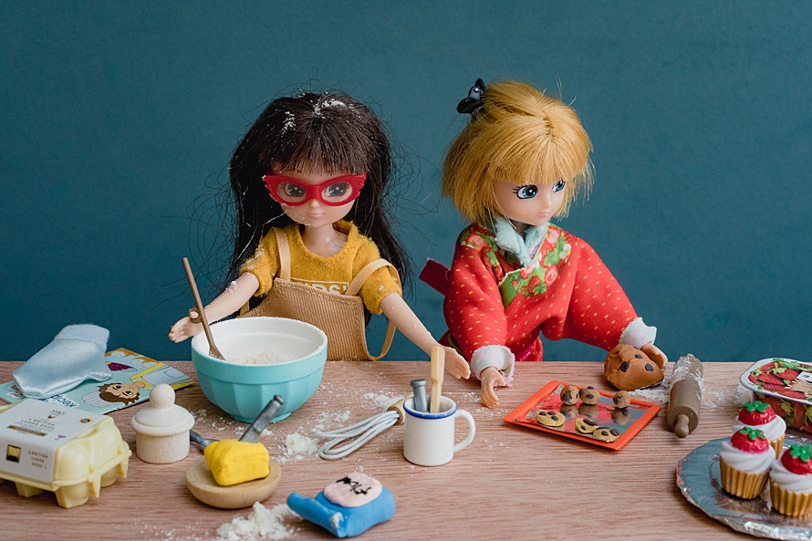 Two dolls in a kitchen scene baking cookies for Emma Collins Lottie Doll project