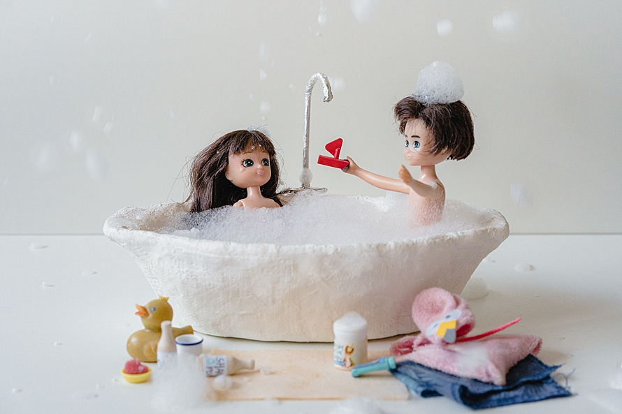 Two dolls in a bathtime scene for Emma Collins Lottie Doll project